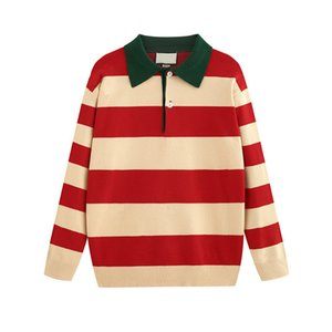 Maglione europeo di lusso 19FW Maglione a righe rosse e bianche Moda confortevole Pullover in cotone Maglioni da uomo firmati da uomo HFKYMY003
