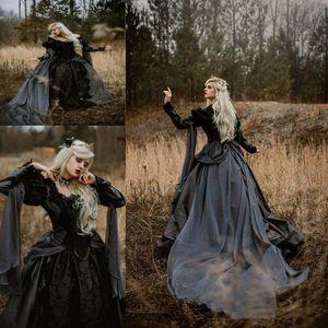 Tallas grandes Vestidos de novia góticos medievales Plata y negro Renacimiento Fantasía Victorian Vampires Manga larga Manga de novia 2019