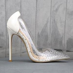 Приходите с логотипом Box Люкс Свадебная обувь Luxury Red Bottom Высокие каблуки Clear Кристалл Rhinestone платье размер обуви 35 К 40 41