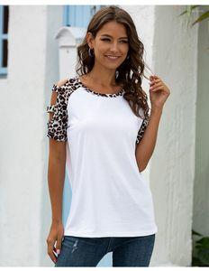 Womens T-shirts Verão Fina Descontraído Tops Designer Sexy Ladies Leopard Print oco Out Female Tees manga curta