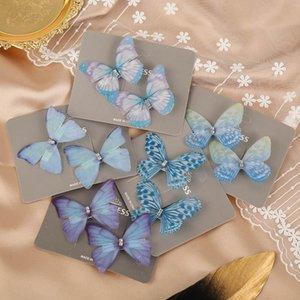 2020 Ins 2pcs / accoppiamenti delle donne farfalla clip di capelli delle ragazze di cristallo chiffon barrettes dolce designer di accessori per capelli fermagli per capelli per le donne clip di BB