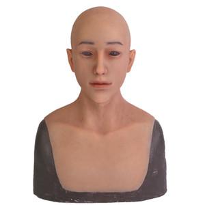 Drag Queen 2019 neue Halloween-Silikon-Mann-Maske Männlich Realistisch erwachsenes Silikon Vollmasken Cosplay Partei-Maske Fetisch Echt Ski
