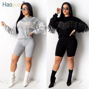 Haoyuan Zweiteiler Anzug für Frauen 2020 Frühling Kleidung Langarm-Tassel Top Shorts Sweat Suits 2 Stück Outfits Passende Produkte