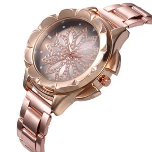 Мода Повседневная Золотая Дрезватор Роторный Цветочный Удар Lucky 32mm Женщины Lady Часы Кварцевые Аналоговые Наручные Часы Из Нержавеющей Стали Дизайн