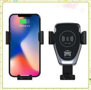 C12 10W del montaje del coche Cargador inalámbrico para el iPhone XS Max XR X Qi rápida carga rápida del sostenedor del coche del teléfono para Samsung S10 S9 S8 Plus MQ60