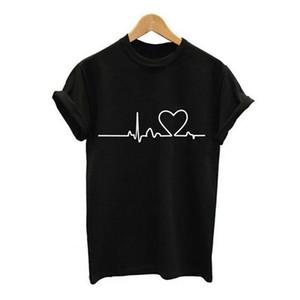 2019 nuevo gimnasio Primavera y verano Nueva moda Euro-americana Harajuku Heartbeat Lady Loose Camiseta de manga corta con cuello redondo Impreso