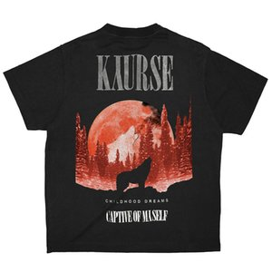 20SS rue Tendance lune de loup T-shirt flash Lettre poudre Logo Impression à manches courtes Chemises Couple Designer Femmes Hommes T-shirt HFXHTX207