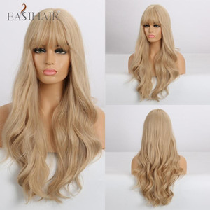 EASIHAIR Long Blonde Wavy Wigs with Bangs Heat Resistant Synthetic Wigs for Women African American Cosplay Natural Hair