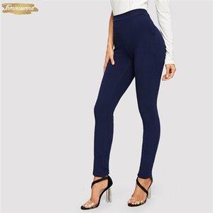 Mavi Cep Pantolon Yan Katı Dokulu Elastik Bel Skinny 2019 Casual Kadınlar Orta Bel Pantolon Havuç Konik