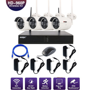 4PCS 4CH الأمن نظام لاسلكي واي فاي كاميرا كاميرا كيت NVR 960P للرؤية الليلية IR-قص CCTV أنظمة مراقبة للماء