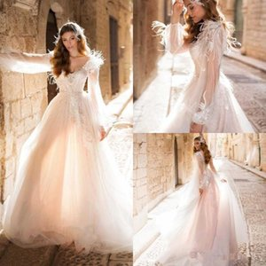Naviblue Princess Long Sleeve Wedding Dresses 2020 Luxury Feather Lace Applique V-neck Outdoor Winter Beach Bride Temple Wedding Gown