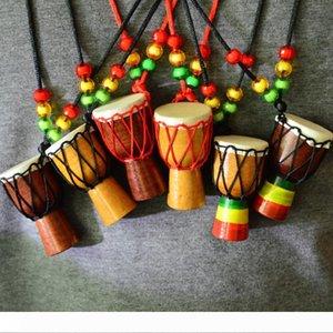 Джембе Ударные Музыкальные ожерелье Instrument Африканский барабан MINI Jambe Ударник Продажа Модные аксессуары ожерелье Подарочные игрушки D0080