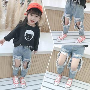 New 2020 Summer hole girls Jeans denim kids jeans fashion Baby jeans girls trousers kids pants kids designer clothes girls B1167