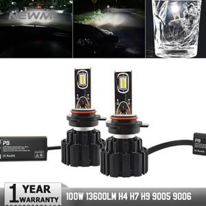 Chegada Nova P9 LED da lâmpada do farol 9012 50W LED 6800LM da lâmpada do farol High Power LED faróis 9012 H4 H7 9005 9006 H11 H8