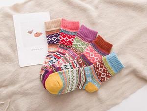 Sonbahar Kış Kalın Sıcak Bayan Çorap Güzel Tatlı Klasik Renkli Çok Desen Yün Karışımları Edebiyat Sanat Tarzı Kaşmir Çorap