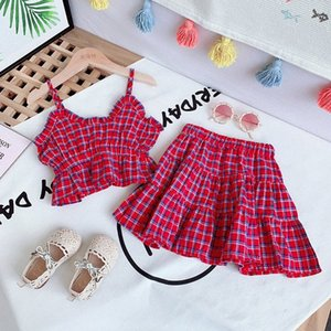 Girls' summer clothes children's baby sling V-neck Plaid Top + pleated skirt two-piece suit girls' clothing 2-6 years old sXfI#