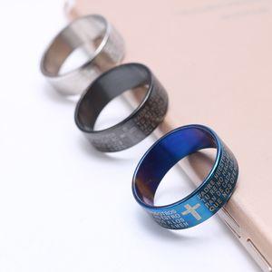 Homens de Aço Inoxidável Cruz Rings Blue Black prata religioso Escritura Lettering Titanium Aço Pinky Anel para mulheres casal jóias