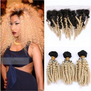 Малайзийские блондинки Ombre Funmi пучки волос 3шт с фронтальной # 1B / 613 Ombre тетушка Funmi Фронтальная застежка человеческих волос кружева 13x4 с плетением