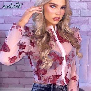 SUCHCUTE manches bouffantes femmes blouse maille broderie tee été zipper papillon lâche sexy 2020 vintage elegent mince tops féminins