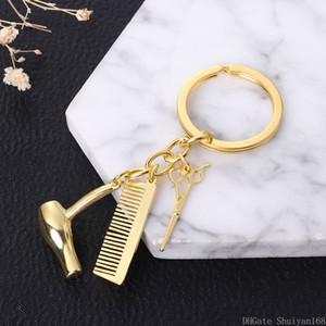 Personalità coppia catena chiave Asciugacapelli Combs Forbici Ciondolo Portachiavi Strumenti Hair Stylist Scissor Soffiare regalo di Natale gioielli Portachiavi