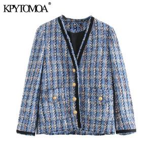 KPYTOMOA Femmes 2020 poches Mode effiloché Trims Veste en tweed Manteau Vintage V manches longues Femme d'extérieur Hauts Chic