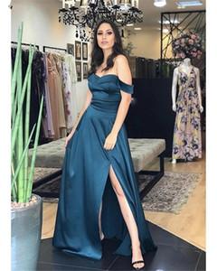 Semplice Split Side Prom Dresses lungo 2020 fuori dalla spalla Backless sweep treno partito convenzionale degli abiti di sera Stain vestido de noche personalizzato