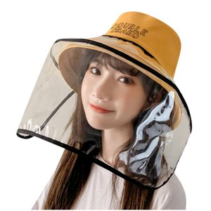 Dual-use Sun Hat Protective Face Shield Cover Hat Anti Spitting Saliva Drool Fisherman Cap With Detachable Clear Facial Masks