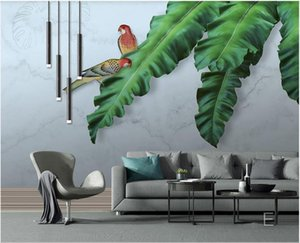 3d landscapes wall custom mural wallpaper HD hand-painted oil painting tropical leaves parrot background wall modern 3d mural on the wall