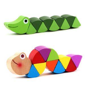 مونتيسوري ألعاب تعليمية ألعاب خشبية للأطفال التعلم المبكر ممارسة أصابع الطفل مرنة أطفال الخشب تويست الحشرات لعبة