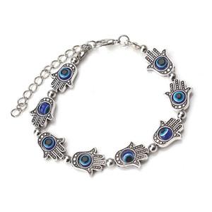 1 string lot Fashion Rhodium Color Fatima Hand Evil Eye Beads Chain Adjustable Bracelet Bangle For Women Evil Eye Bracelet Gift