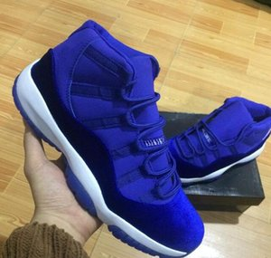 high cut New 11 Velvet Heiress blue Suede Basketball Shoes Mens Spaces Jams 11S XI Authentic Sneaker Shoes
