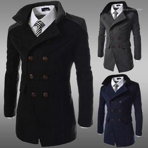 Mode Revers Hals dicken Winter Herren Mantel Zweireihig Langarm Herren Cloth Mens Designer Mäntel