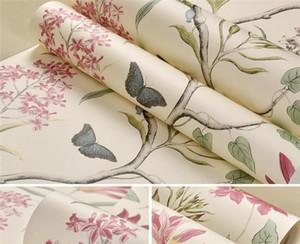 Hot 10Mx 53cm Chinoiserie Tapete Schlafzimmer Wandverkleidung modernen Vintage rosa Blumentapete Blau tropischer Schmetterling Vögel Blume