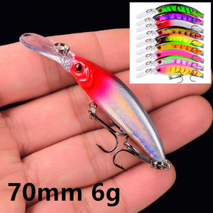 1pcs 9 Color 70 mm 6 g Minnow Fishing Hooks Fishhooks 8# Hook Plastic Hard Baits & Lures Pesca Fishing Tackle Accessories WE_36