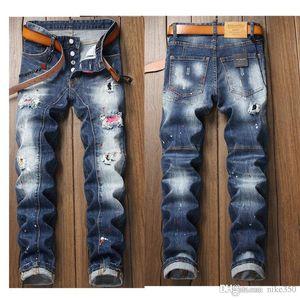 20SS Мода Мужские джинсы мужские Тонкий повседневные брюки Эластичные брюки светло-синий Fit Сыпучие хлопок Denim Brand Jeans Мужской