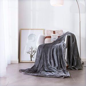 Couverture bleue marine Throw confortable en peluche légère en microfibre solide Blanket50