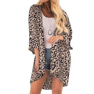 Кимоно Кардиган женщин Топы и блузки Vintage леопардовый дамы Топы с длинным рукавом Длинные Блузки Одежда женская 2019