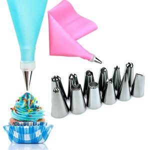 DIY Cream Bag + 12 Stainless Nozzle Home Kitchen Baking Tools Silicone Cake Decorating Sets 14pcs  set