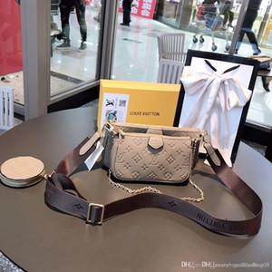 Diseñadores Luxurys mujeres de tres piezas impresión de los bolsos de las flores 3 en 1 bolso de la cadena real billetera de cuero de la correa de hombro del mensajero de Crossbody monedero
