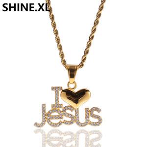 Hip Hop Iced Out Diamond Lettre I LOVE Jesus Collier Pendentif Plaqué Or 18K Collier Charm