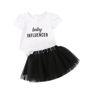 1-5Years Girl Flying sleeve rainbow letter T-shirt + skirt Baby Girl Summer Kids Sets