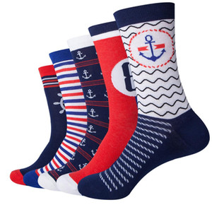 Nuevo Navy Style Match Anchor Men Combed Cotton Funny Socks Lovers Socks Two Size (5 Pairs / Lot)
