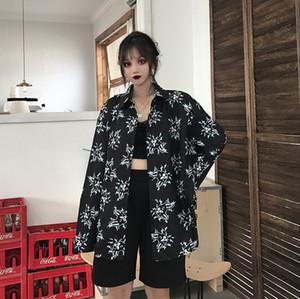 Photo Shoot 2019 Outono Nova Estilo Coreano de estilo Hong Kong sabor retro BF Loose-Fit Versátil Preguiça-Style Fina Flor shirt Wo