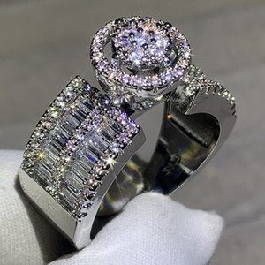 Anillo de la manera 925 Pave Partido blanco del diamante de la CZ Las mujeres populares de boda Anillos de compromiso Band espumosos de las mujeres de la joyería de lujo
