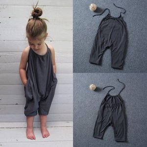 2020 Fashion Kids Baby Girls Strap Cotton Romper Jumpsuit New Harem Trousers Summer Clothes Free Shipping