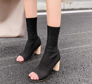 Spring Autum New Design Women Ankle Boots Peep toe knitted Stretch Fabric Boots Sexy socks high heels Woman shoes