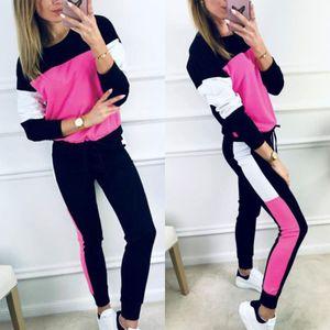 Women Casual Top Pantaloni tuta sportiva dei vestiti Felpa pantaloni lunghi sportivo da jogging