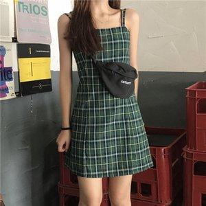 Abito senza maniche Mini Estate Hipster Plaid Strap Slim Fit donne vestono Fata Verde Sweet Fashion Preppy Abiti bretella