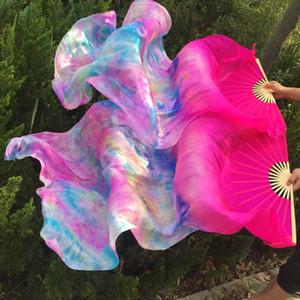 Mulheres 1 par 100% 1,8 m Silk Veils Fan * 0.9m resistente luz listras longas barriga dança do leque de seda véu