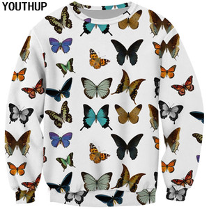 YOUTHUP 2019 Harajuku Male 3d Hoodies Multicolor Butterfly Print Funny 3d Hoodies Sweatshirts Men Women Pullover Streetwear